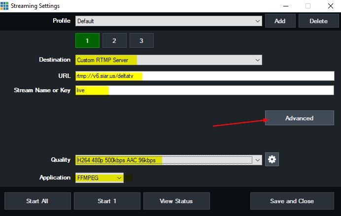 Pengaturan RTMP di Vmix